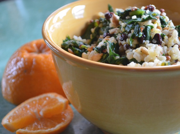 Hippie Rice:  With Beet Greens, Currants, Sunflower Seeds, and Orange Zest